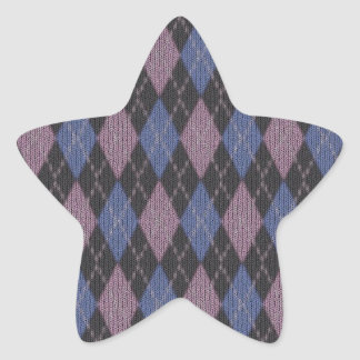 Knitted Jersey Blue Abstract  Star Sticker