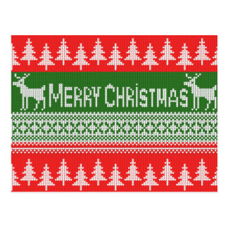 """Knitted """"Merry Christmas"""" pattern Postcard"""