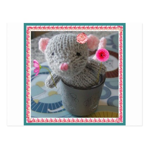 knitted mouse postcards