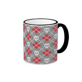 Knitted pattern with skulls ringer mug