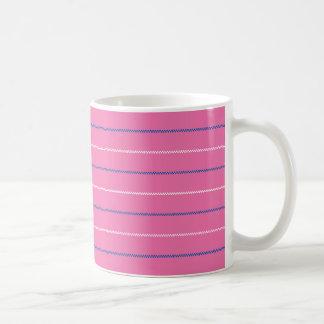 Knitted | Pink Blue White Pattern Design Basic White Mug