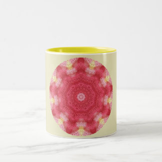 Knitted Pink Star Fractal Two-Tone Coffee Mug