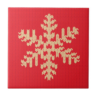 Knitted Snowflake Pattern Ceramic Tile
