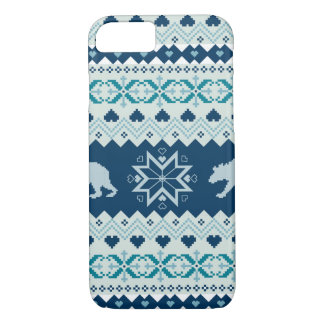 Knitted winter pattern with bears iPhone 7 case