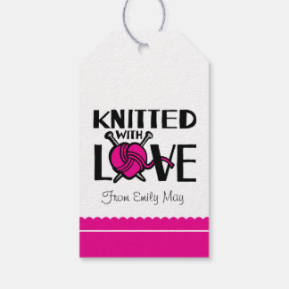 Knitted with love heart wool named gift tag