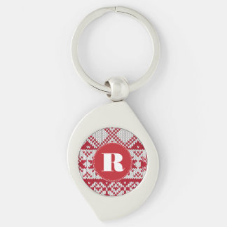 Knitted Xmas Monogram Silver-Colored Swirl Key Ring