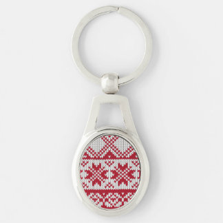 Knitted Xmas pattern in red and white Silver-Colored Oval Key Ring