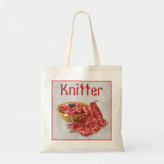 Knitter - Hand Knit red Chenille Yarn