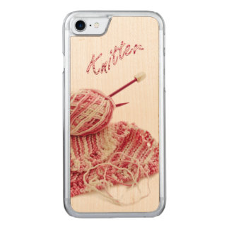 """Knitter"" Pink and White Hand Knit Photo Carved iPhone 7 Case"