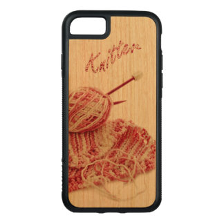"""""""Knitter"""" Pink and White Hand Knit Photo Carved iPhone 7 Case"""
