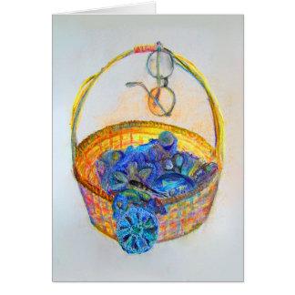 knitter's basket greetings card