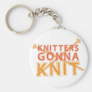 Knitters gonna knit (with knitting needles) basic round button key ring