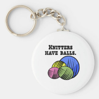 knitters have balls basic round button key ring