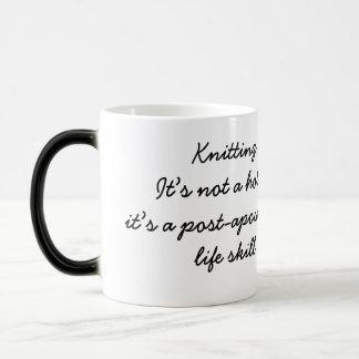 Knitting: a post-apocalyptic life skill morphing mug