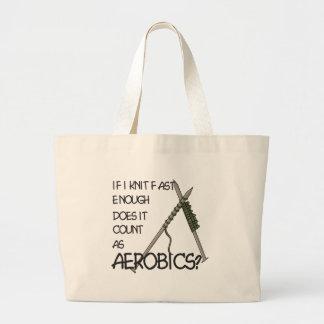 Knitting Aerobics Large Tote Bag