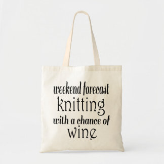 Knitting and Wine Budget Tote Bag