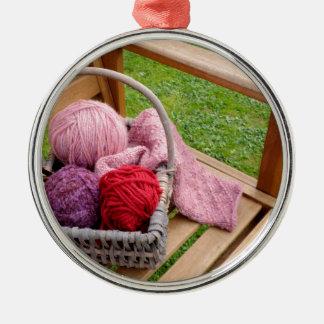 Knitting basket metal ornament