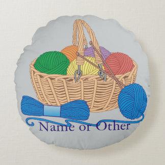 Knitting Basket Personalized Round Cushion
