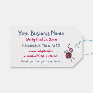 Knitting Business Horizontal Tie On Tags