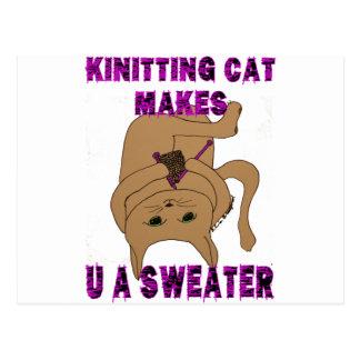 Knitting Cat Makes U A Sweater Postcard