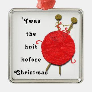 knitting Christmas Metal Ornament