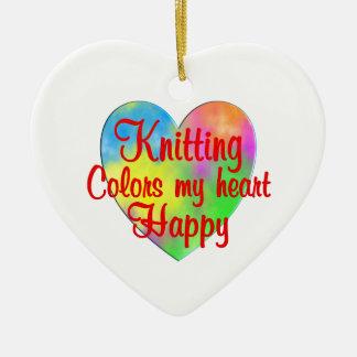 Knitting Colors My Heart Happy Ceramic Heart Decoration