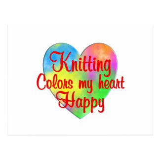 Knitting Colors My Heart Happy Postcard