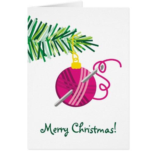 Knitting crochet  yarn ball Christmas holiday Greeting Cards