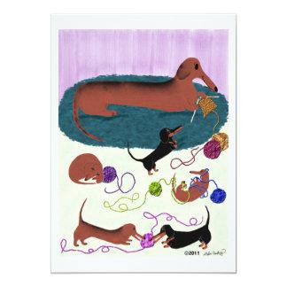 Knitting Dachshund 13 Cm X 18 Cm Invitation Card