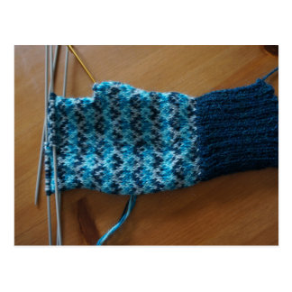 Knitting Fair Isle Gloves Postcard