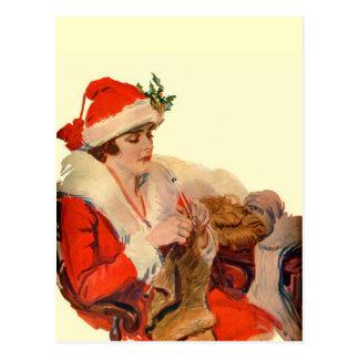 Knitting for Christmas Postcard
