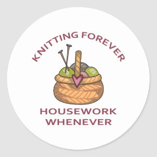 KNITTING FOREVER CLASSIC ROUND STICKER