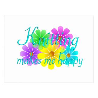 Knitting Happiness Flowers Postcard