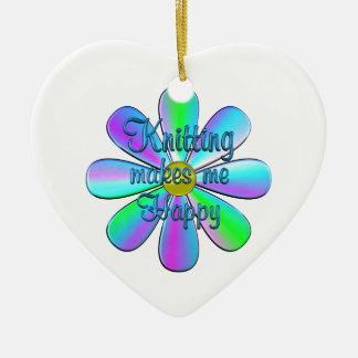 Knitting Happy Ceramic Heart Decoration