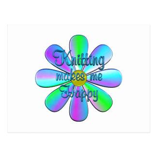 Knitting Happy Postcard