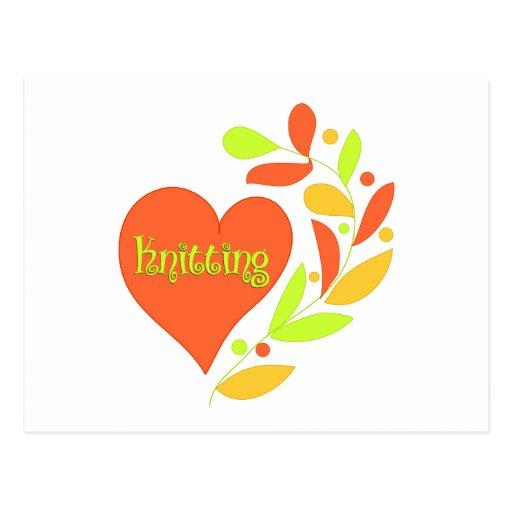 Knitting Heart Postcard