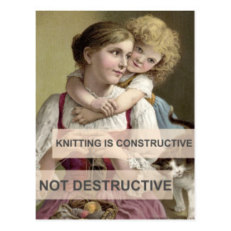 Knitting is Constructive Postcard