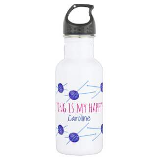 Knitting is my happy place, with your name 532 ml water bottle
