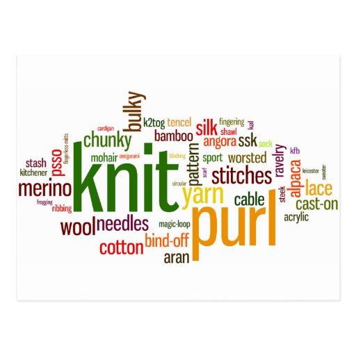 Knitting Lexicon - words for knitters!  Knit On! Postcard