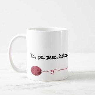 Knitting Lingo Yarn Ball Basic White Mug