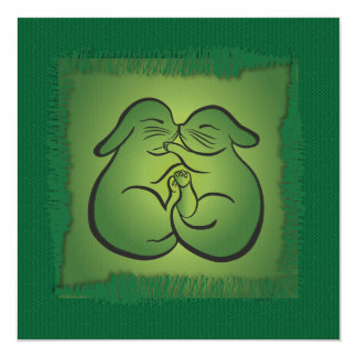 Knitting Lovers Greeting Card – Green Bunnies 13 Cm X 13 Cm Square Invitation Card
