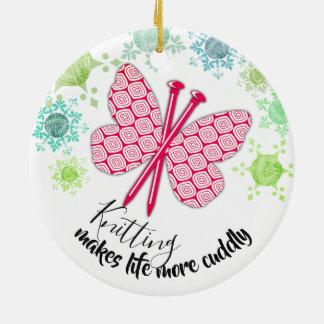 Knitting needles butterfly yarn Christmas ornament