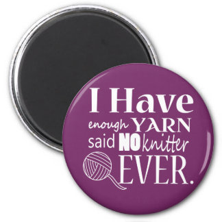 Knitting Not Enough Yarn/Crafts {Dark} 6 Cm Round Magnet