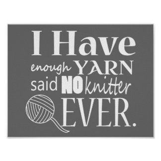 Knitting • Not Enough Yarn Crafts {Dark} Poster