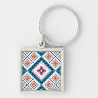 Knitting pattern with flowers Silver-Colored square key ring