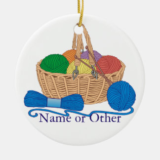 Knitting Personalized Ceramic Ornament