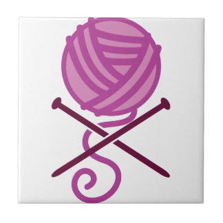 knitting pirate purple small square tile