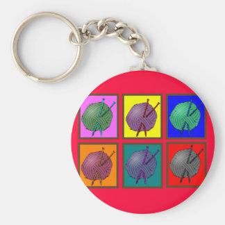 Knitting Popart Gifts Basic Round Button Key Ring