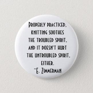 knitting quote 6 cm round badge