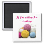 Knitting quotes square magnet